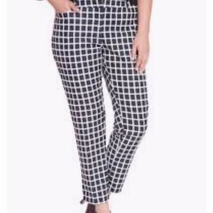 Eloquii Katy Neoprene Blk/Wht Checkered Pant Sz 18